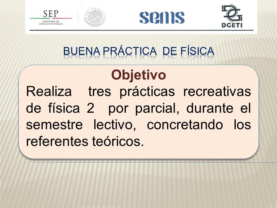 Objetivo Realiza tres prácticas recreativas de física 2 por parcial, durante el semestre lectivo, concretando los referentes teóricos.