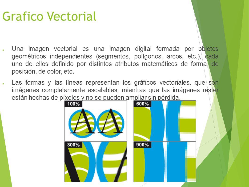 Grafico Vectorial Una imagen vectorial es una imagen digital formada por objetos geométricos independientes (segmentos, polígonos, arcos, etc.), cada uno de ellos definido por distintos atributos matemáticos de forma, de posición, de color, etc.