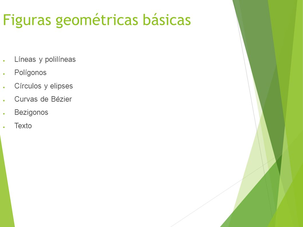 Figuras geométricas básicas Líneas y polilíneas Polígonos Círculos y elipses Curvas de Bézier Bezigonos Texto