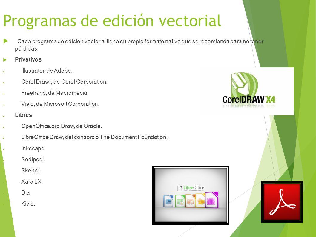 Programas de edición vectorial Cada programa de edición vectorial tiene su propio formato nativo que se recomienda para no tener pérdidas.