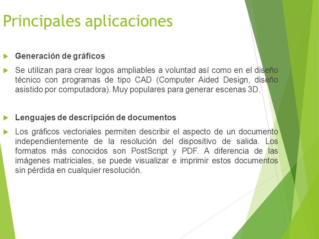 Principales aplicaciones Generación de gráficos Se utilizan para crear logos ampliables a voluntad así como en el diseño técnico con programas de tipo CAD (Computer Aided Design, diseño asistido por computadora).