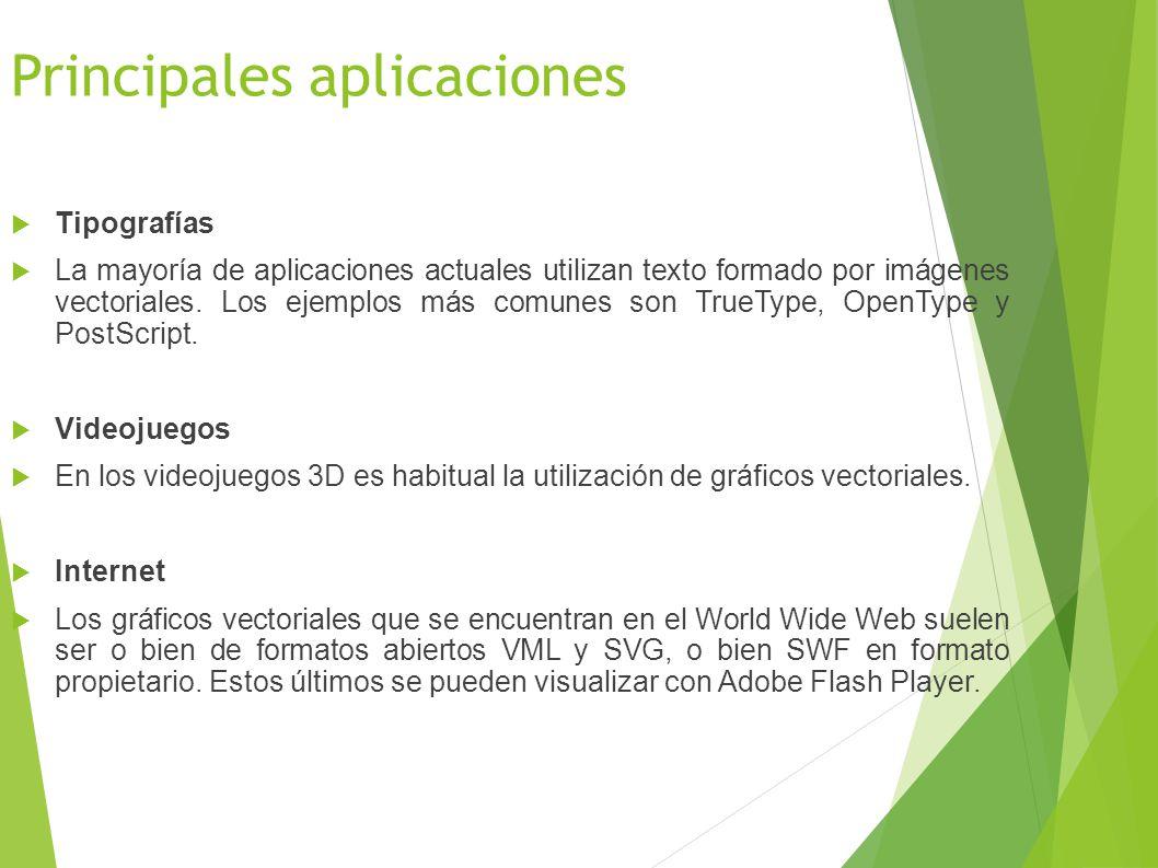Principales aplicaciones Tipografías La mayoría de aplicaciones actuales utilizan texto formado por imágenes vectoriales.