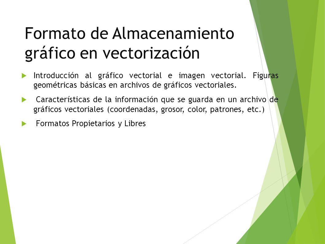 Formato de Almacenamiento gráfico en vectorización Introducción al gráfico vectorial e imagen vectorial.