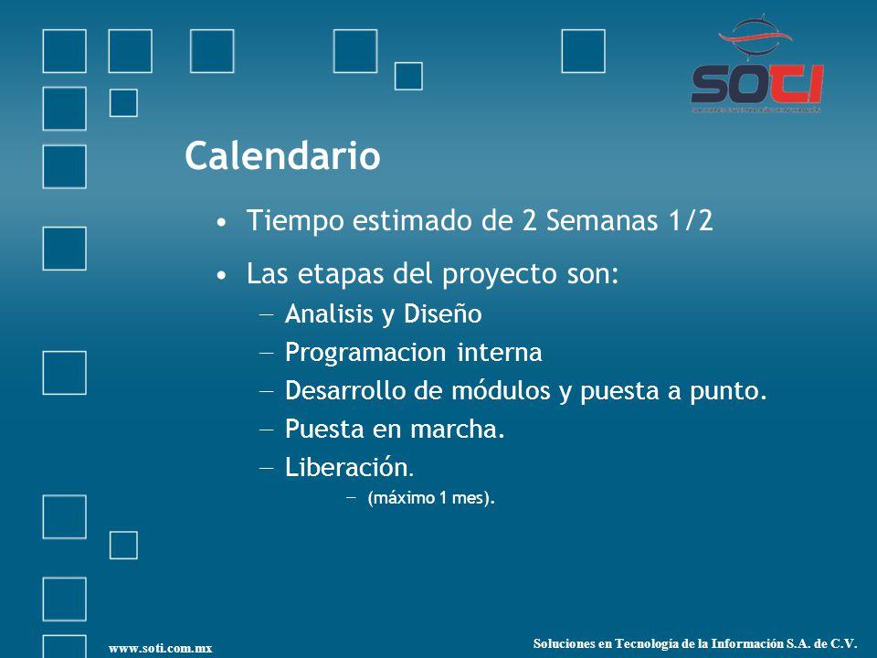 Calendario Tiempo estimado de 2 Semanas 1/2 Las etapas del proyecto son: Analisis y Diseño Programacion interna Desarrollo de módulos y puesta a punto.