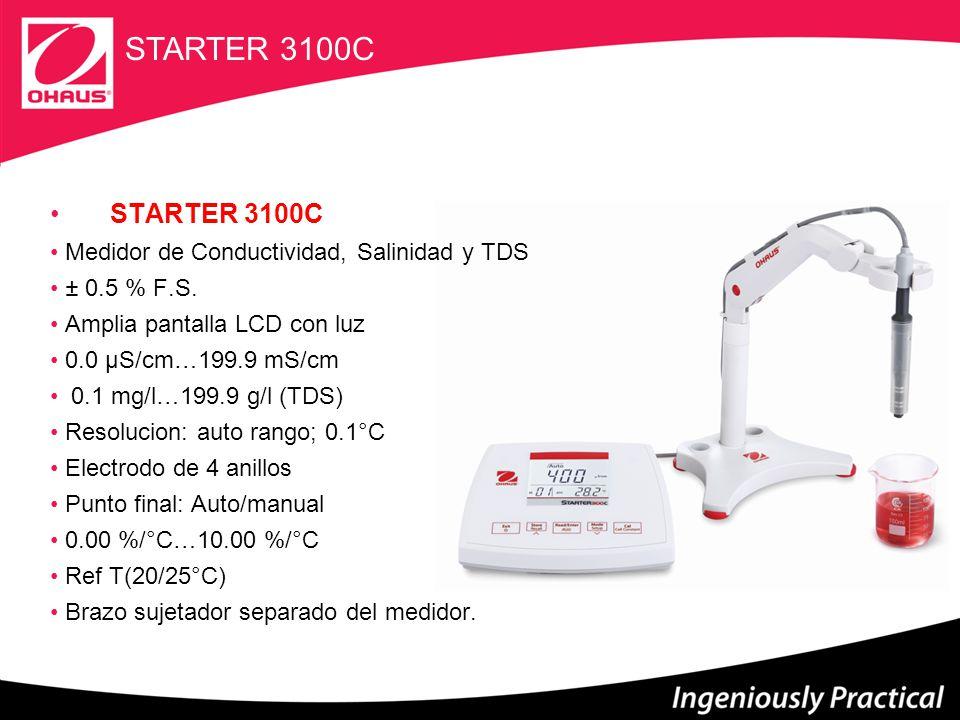 STARTER 300 icono de condicion del electrodo 0.01pH IP54 3-in-1 electrodo 3 puntos de calibración ATC/MTC 1 grupo de buffer Reconocimiento automático de buffers Punto final: Auto/manual 30 memorias STARTER 300