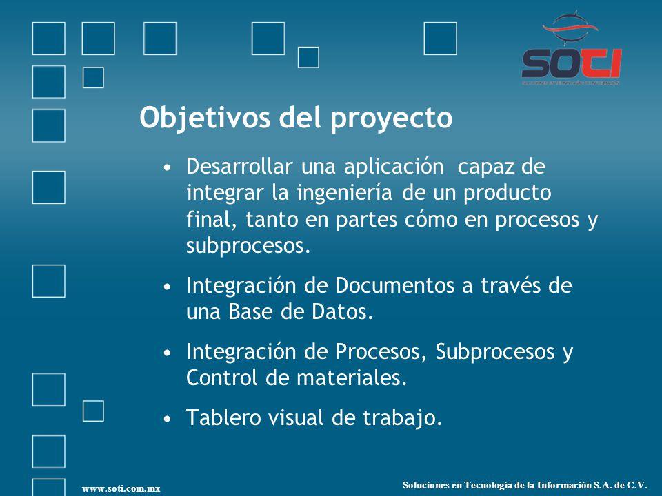 Objetivos del proyecto Desarrollar una aplicación capaz de integrar la ingeniería de un producto final, tanto en partes cómo en procesos y subprocesos.