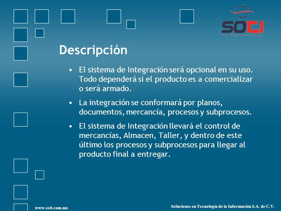 Descripción El sistema de Integración será opcional en su uso.