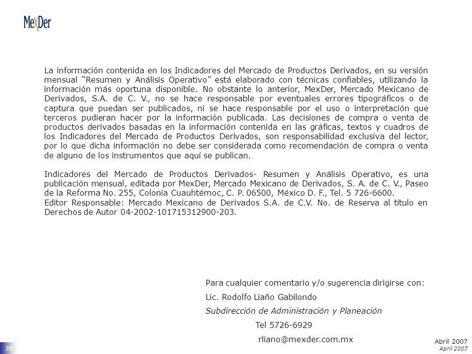 Abril 2007 April 2007 39 La información contenida en los Indicadores del Mercado de Productos Derivados, en su versión mensual Resumen y Análisis Operativo está elaborado con técnicas confiables, utilizando la información más oportuna disponible.