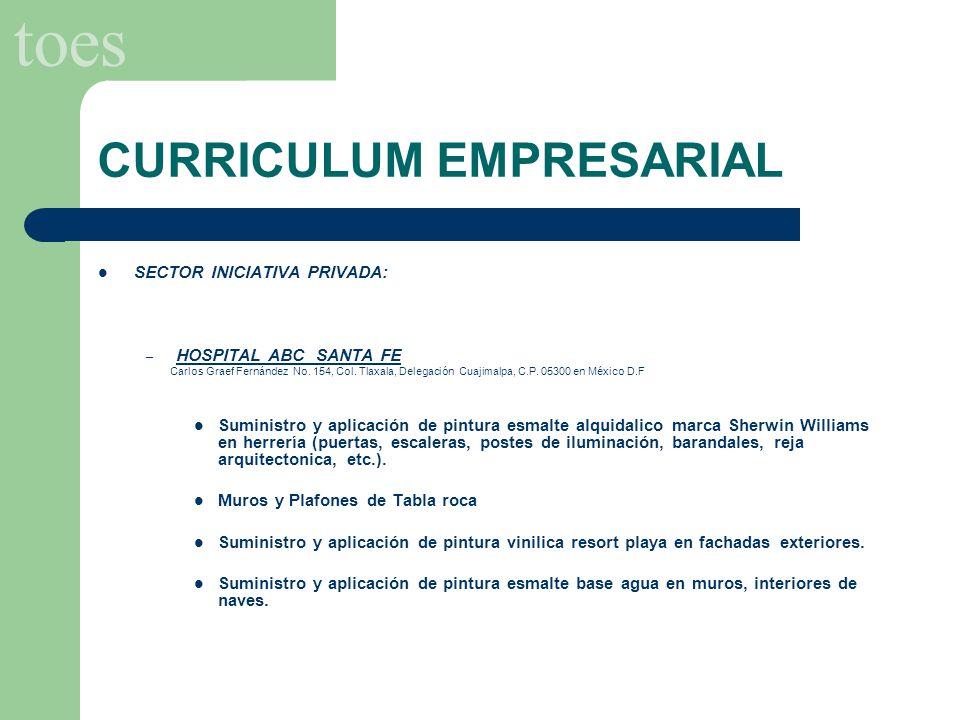 toes CURRICULUM EMPRESARIAL SECTOR INICIATIVA PRIVADA: – HOSPITAL ABC SANTA FE Carlos Graef Fernández No. 154, Col. Tlaxala, Delegación Cuajimalpa, C.