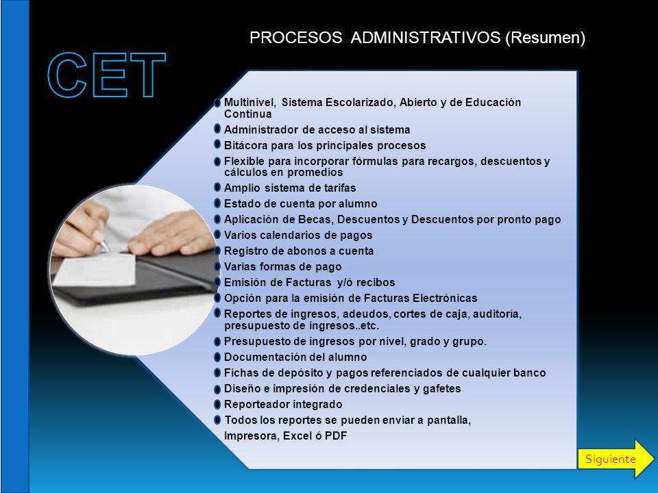 Multinivel, Sistema Escolarizado, Abierto y de Educación Continua Administrador de acceso al sistema Bitácora para los principales procesos Flexible p