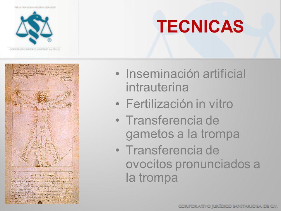 TECNICAS Inseminación artificial intrauterina Fertilización in vitro Transferencia de gametos a la trompa Transferencia de ovocitos pronunciados a la