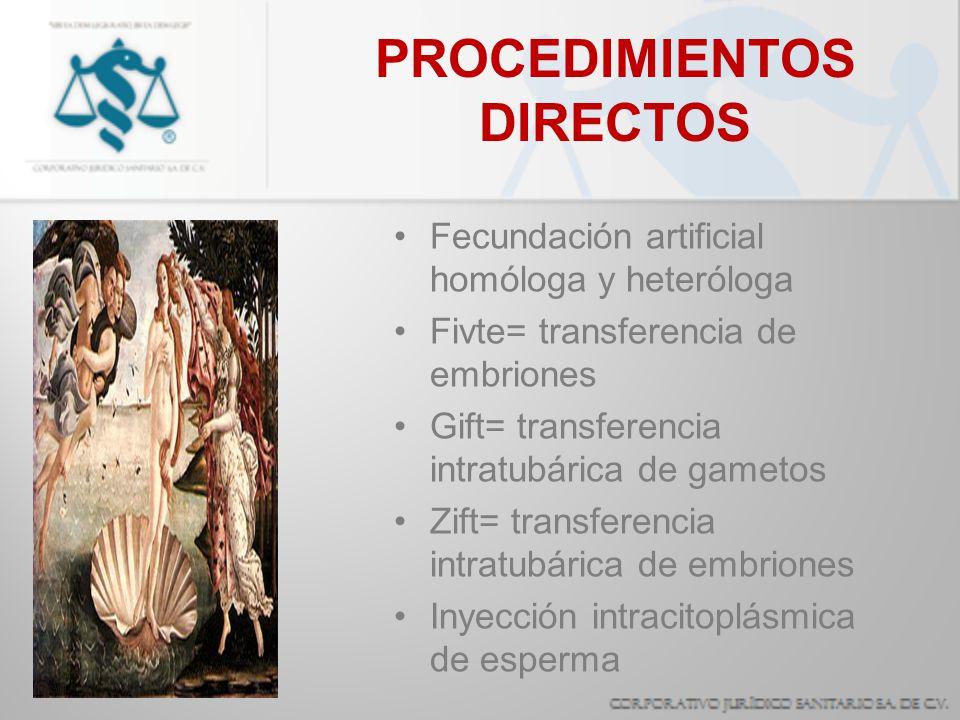 Fecundación artificial homóloga y heteróloga Fivte= transferencia de embriones Gift= transferencia intratubárica de gametos Zift= transferencia intrat