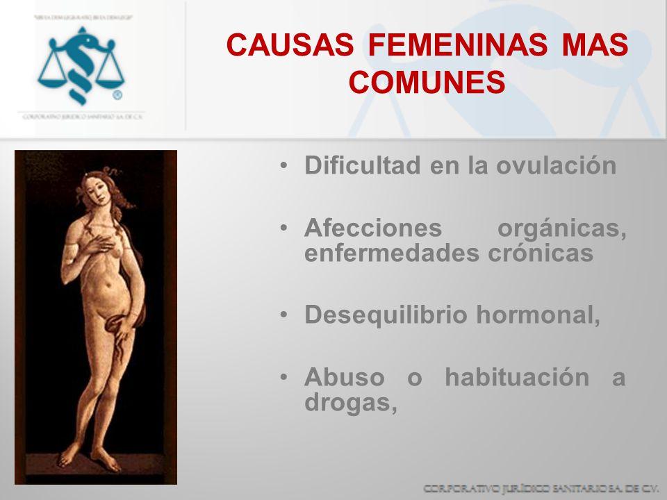 CAUSAS FEMENINAS MAS COMUNES Dificultad en la ovulación Afecciones orgánicas, enfermedades crónicas Desequilibrio hormonal, Abuso o habituación a drog