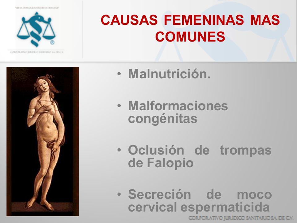 CAUSAS FEMENINAS MAS COMUNES Malnutrición. Malformaciones congénitas Oclusión de trompas de Falopio Secreción de moco cervical espermaticida