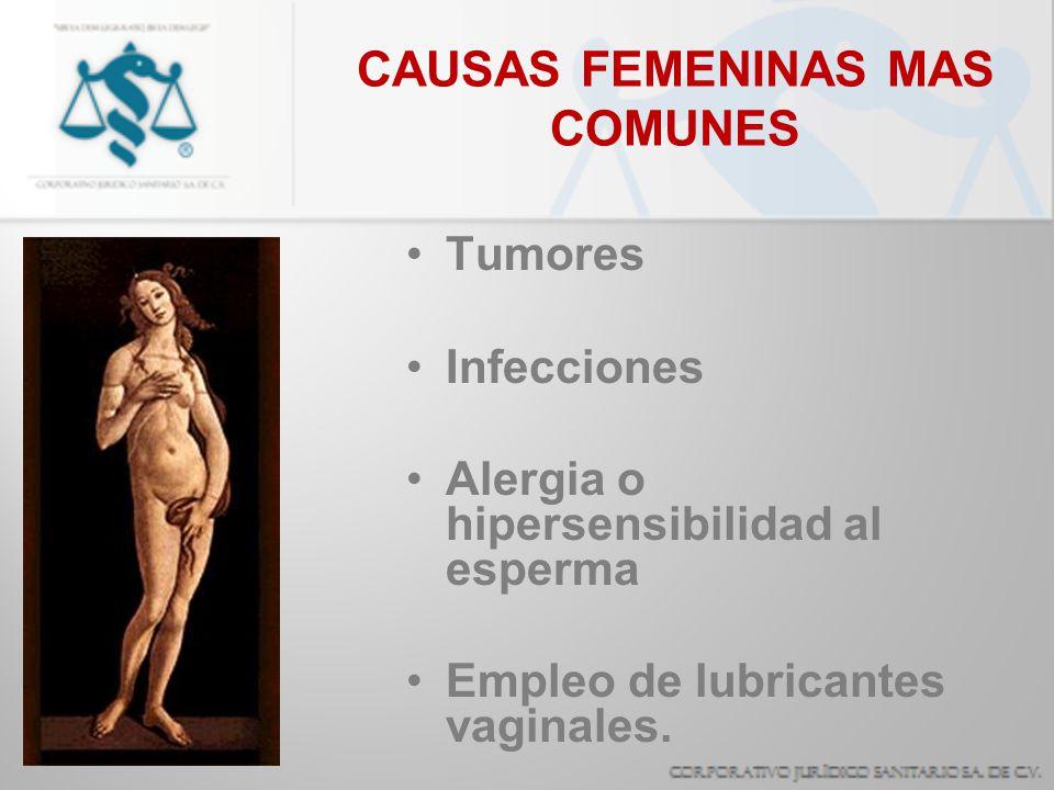 CAUSAS FEMENINAS MAS COMUNES Tumores Infecciones Alergia o hipersensibilidad al esperma Empleo de lubricantes vaginales.