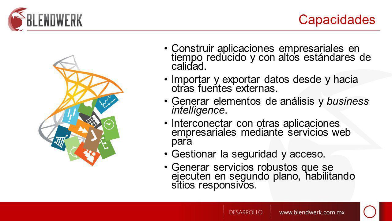 Capacidades Construir aplicaciones empresariales en tiempo reducido y con altos estándares de calidad.