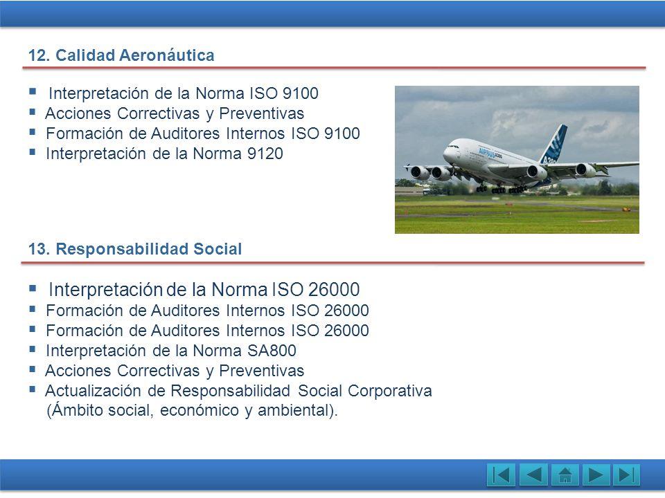 Interpretación de la Norma ISO 9100 Acciones Correctivas y Preventivas Formación de Auditores Internos ISO 9100 Interpretación de la Norma 9120 13. Re