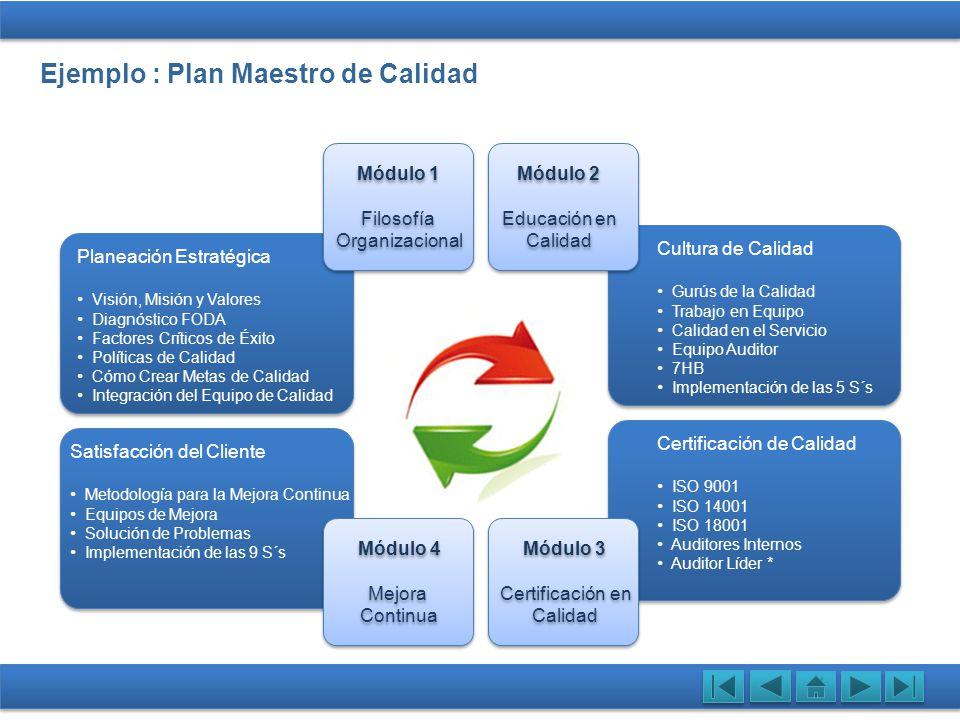 Ejemplo : Plan Maestro de Calidad Planeación Estratégica Visión, Misión y Valores Diagnóstico FODA Factores Críticos de Éxito Políticas de Calidad Cóm