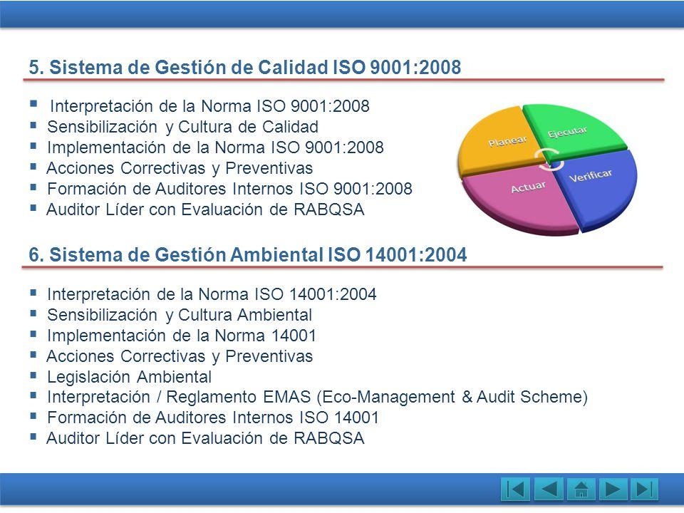 Interpretación de la Norma OHSAS 18001:2007 Identificación y Prevención de Riesgos Implementación de OHSAS 18001 Acciones Correctivas y Preventivas Legislación en Seguridad Ocupacional Formación de Auditores Internos ISO 18001 Auditor Líder con Evaluación de RABQSA 7.