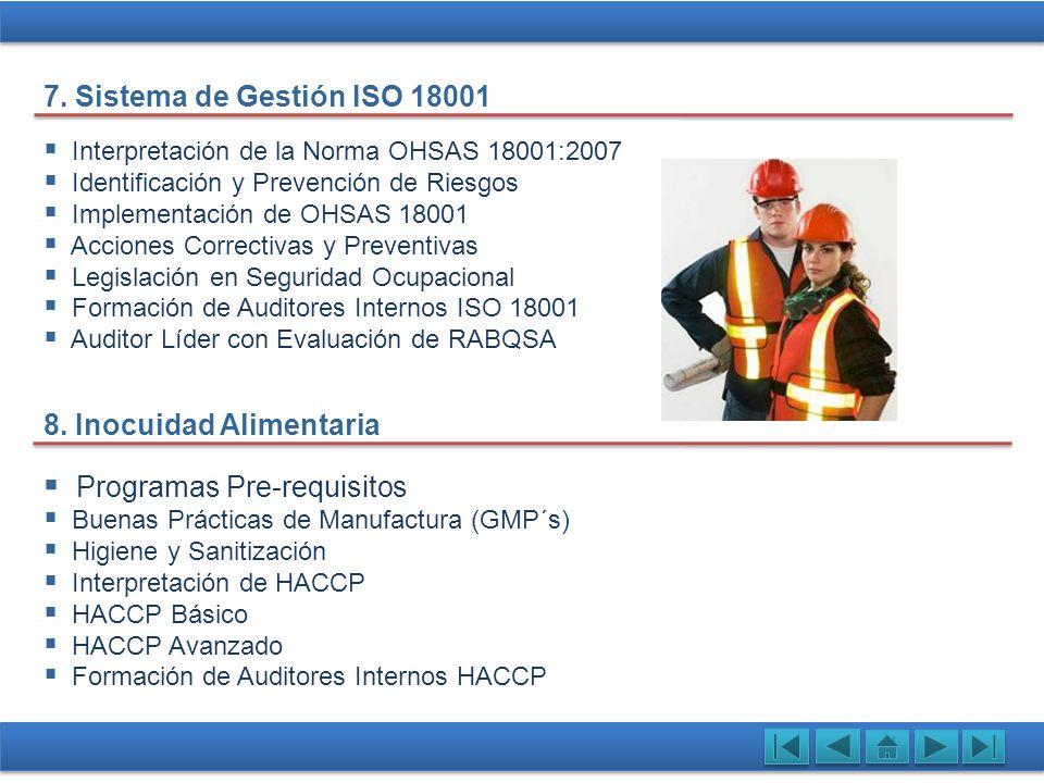 Interpretación de la Norma OHSAS 18001:2007 Identificación y Prevención de Riesgos Implementación de OHSAS 18001 Acciones Correctivas y Preventivas Le