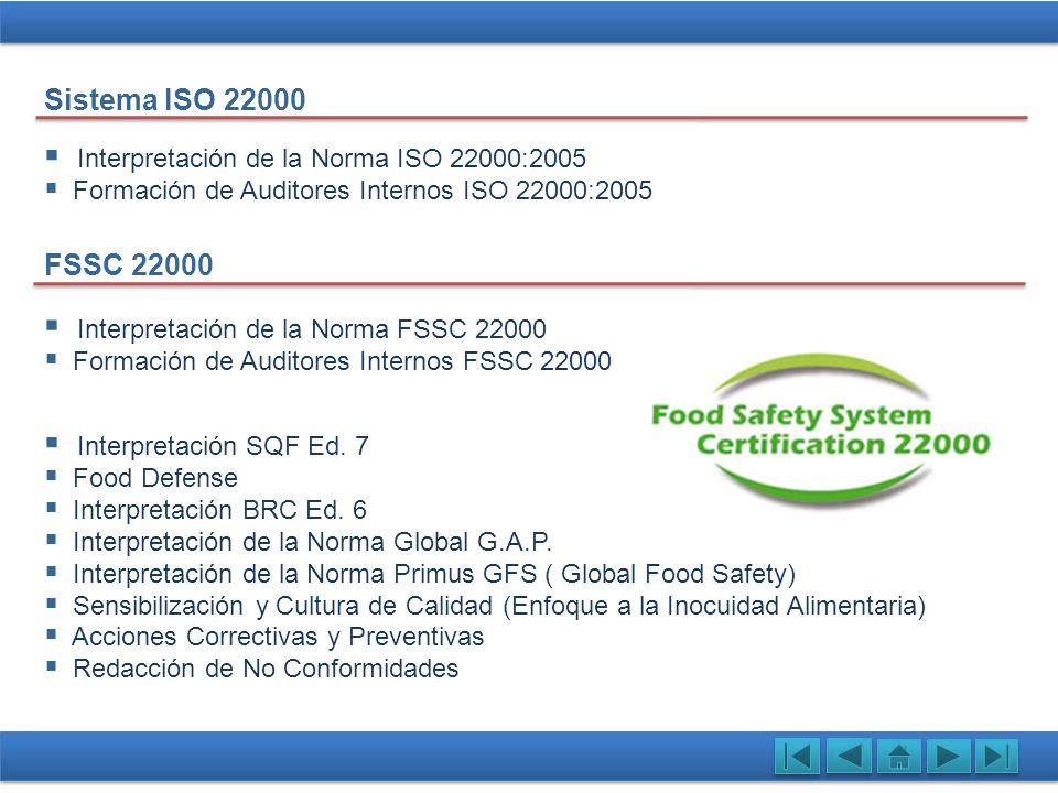 Interpretación de la Norma ISO 22000:2005 Formación de Auditores Internos ISO 22000:2005 Sistema ISO 22000 FSSC 22000 Interpretación de la Norma FSSC