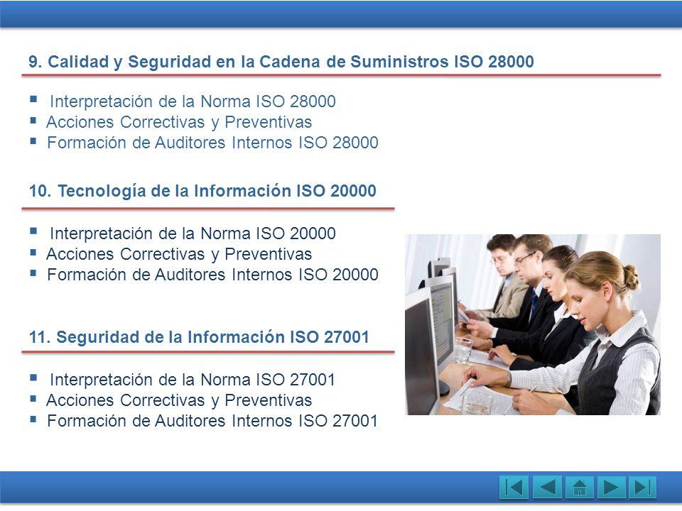 Interpretación de la Norma ISO 28000 Acciones Correctivas y Preventivas Formación de Auditores Internos ISO 28000 10. Tecnología de la Información ISO