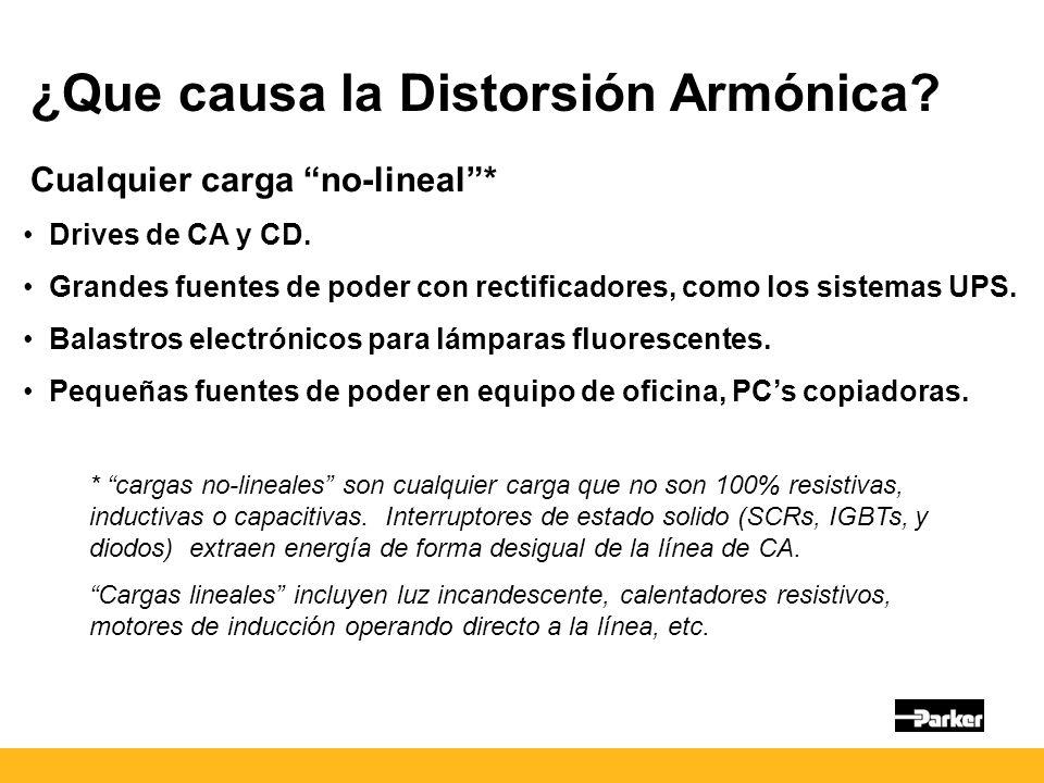¿Que causa la Distorsión Armónica.Cualquier carga no-lineal* Drives de CA y CD.