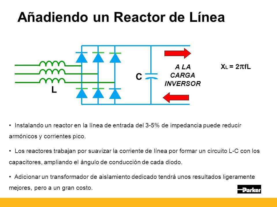 Añadiendo un Reactor de Línea A LA CARGA INVERSOR Instalando un reactor en la línea de entrada del 3-5% de impedancia puede reducir armónicos y corrientes pico.