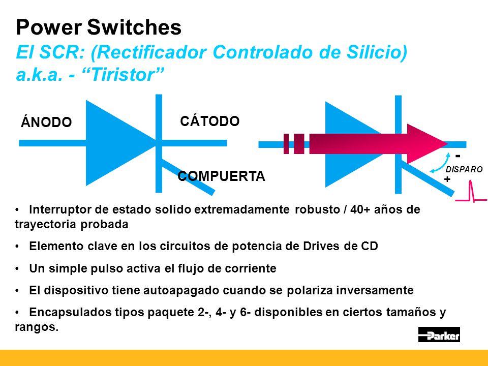 Power Switches El SCR: (Rectificador Controlado de Silicio) a.k.a.