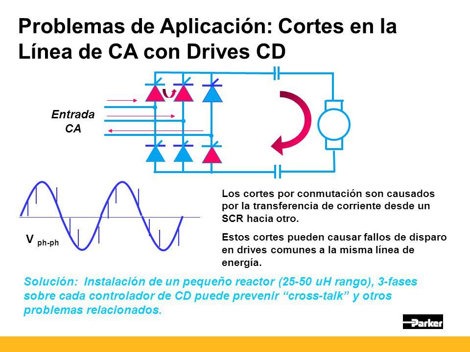 Problemas de Aplicación: Cortes en la Línea de CA con Drives CD Entrada CA Los cortes por conmutación son causados por la transferencia de corriente desde un SCR hacia otro.