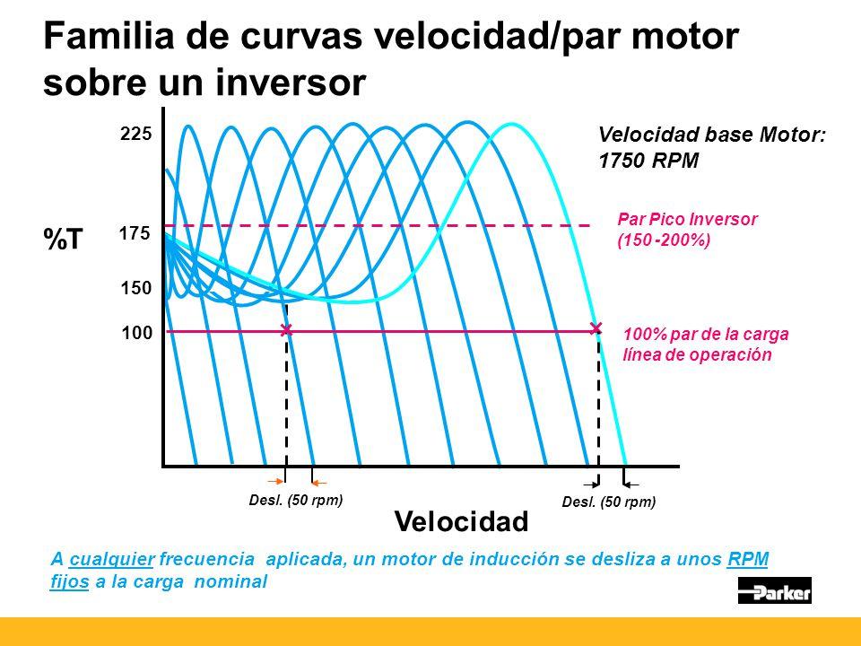 Velocidad Familia de curvas velocidad/par motor sobre un inversor Desl.