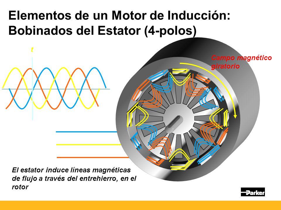 t El estator induce líneas magnéticas de flujo a través del entrehierro, en el rotor Campo magnético giratorio Elementos de un Motor de Inducción: Bobinados del Estator (4-polos)