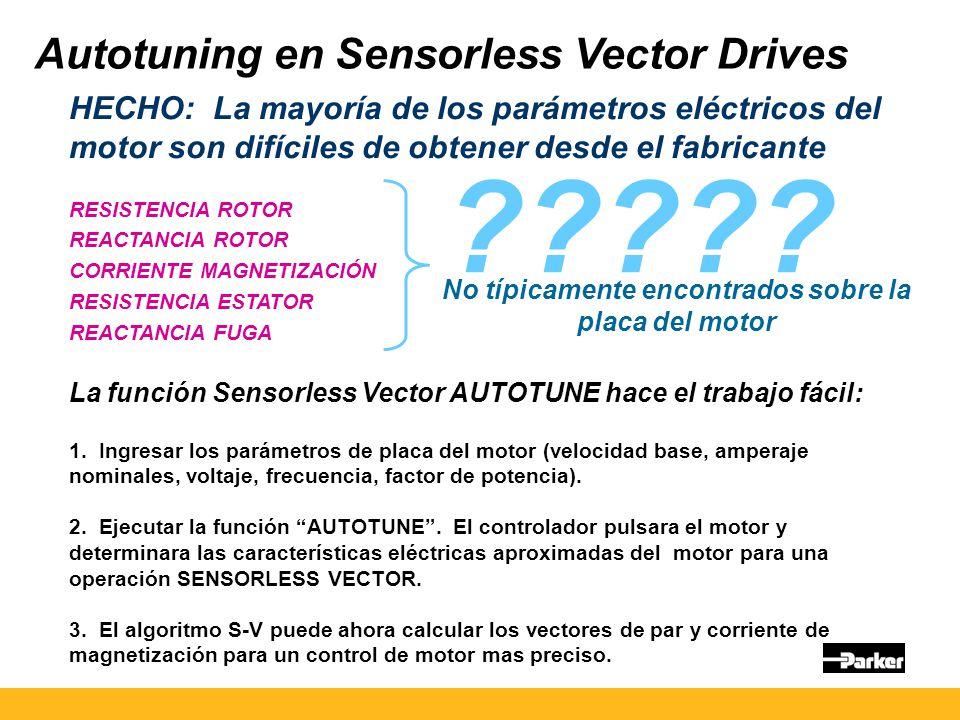 Autotuning en Sensorless Vector Drives HECHO: La mayoría de los parámetros eléctricos del motor son difíciles de obtener desde el fabricante RESISTENCIA ROTOR REACTANCIA ROTOR CORRIENTE MAGNETIZACIÓN RESISTENCIA ESTATOR REACTANCIA FUGA La función Sensorless Vector AUTOTUNE hace el trabajo fácil: 1.