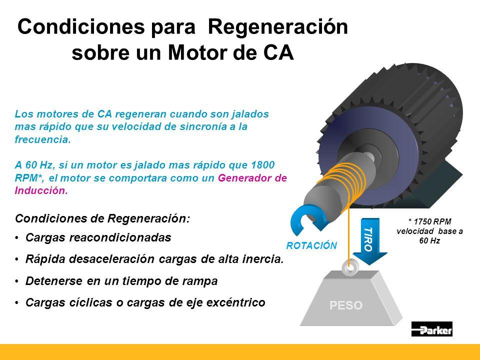 PESO TIRO ROTACIÓN Condiciones para Regeneración sobre un Motor de CA Los motores de CA regeneran cuando son jalados mas rápido que su velocidad de sincronía a la frecuencia.
