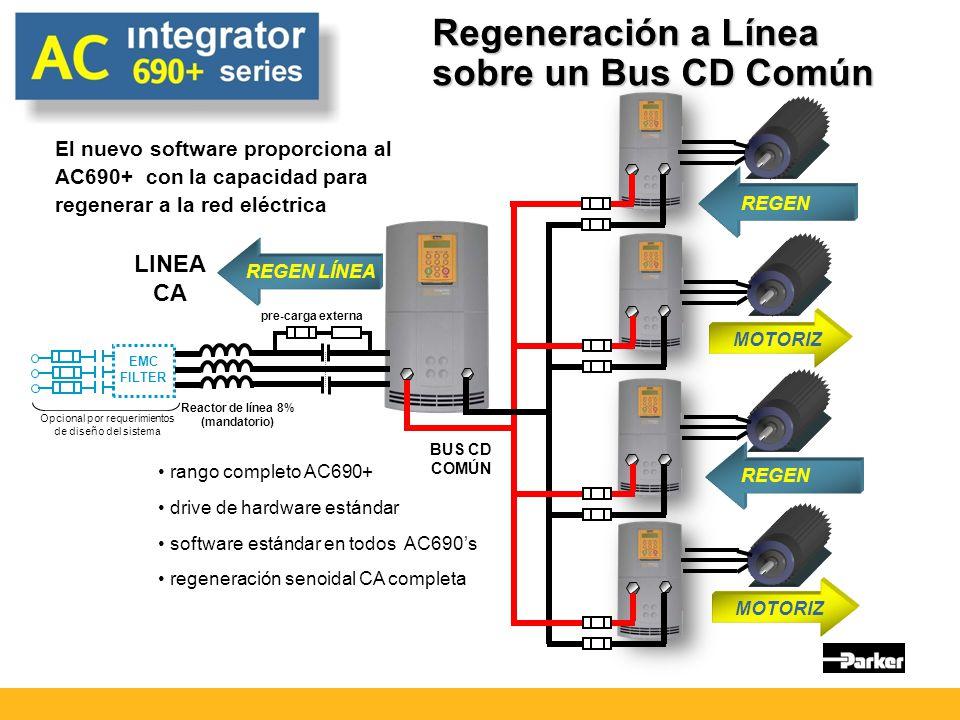 Regeneración a Línea sobre un Bus CD Común REGEN MOTORIZ REGEN LÍNEA BUS CD COMÚN LINEA CA rango completo AC690+ drive de hardware estándar software estándar en todos AC690s regeneración senoidal CA completa EMC FILTER Opcional por requerimientos de diseño del sistema pre-carga externa Reactor de línea 8% (mandatorio) El nuevo software proporciona al AC690+ con la capacidad para regenerar a la red eléctrica