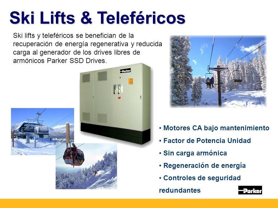 Ski Lifts & Teleféricos Ski lifts y teleféricos se benefician de la recuperación de energía regenerativa y reducida carga al generador de los drives libres de armónicos Parker SSD Drives.