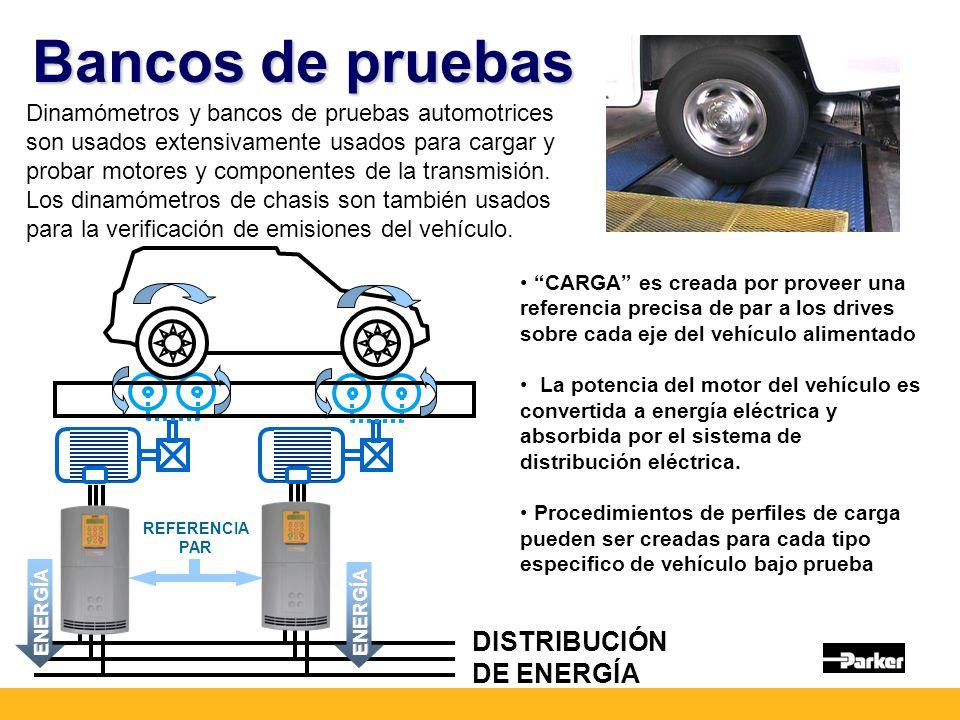 Bancos de pruebas Dinamómetros y bancos de pruebas automotrices son usados extensivamente usados para cargar y probar motores y componentes de la transmisión.