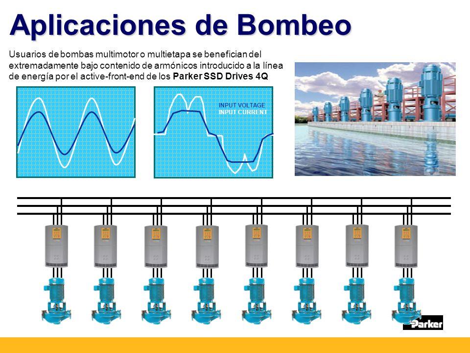Aplicaciones de Bombeo Usuarios de bombas multimotor o multietapa se benefician del extremadamente bajo contenido de armónicos introducido a la línea de energía por el active-front-end de los Parker SSD Drives 4Q INPUT VOLTAGE INPUT CURRENT