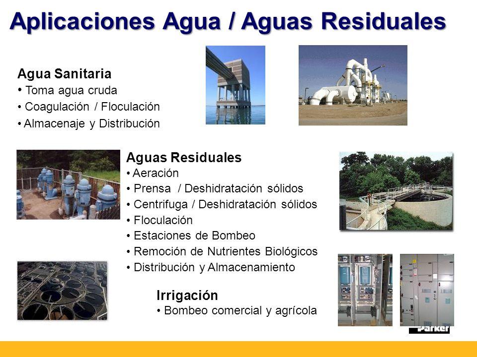Aplicaciones Agua / Aguas Residuales Agua Sanitaria Toma agua cruda Coagulación / Floculación Almacenaje y Distribución Aguas Residuales Aeración Prensa / Deshidratación sólidos Centrifuga / Deshidratación sólidos Floculación Estaciones de Bombeo Remoción de Nutrientes Biológicos Distribución y Almacenamiento Irrigación Bombeo comercial y agrícola
