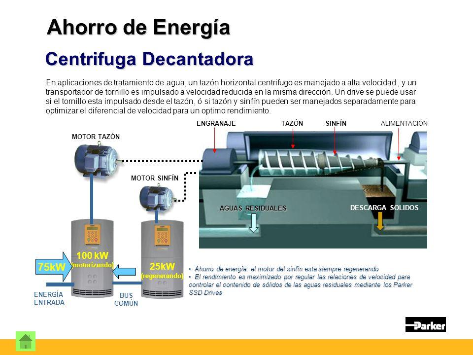 Centrifuga Decantadora En aplicaciones de tratamiento de agua, un tazón horizontal centrifugo es manejado a alta velocidad, y un transportador de tornillo es impulsado a velocidad reducida en la misma dirección.