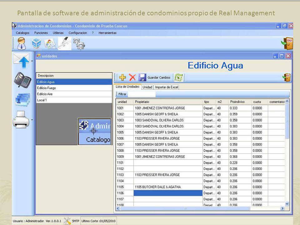 Pantalla de software de administración de condominios propio de Real Management