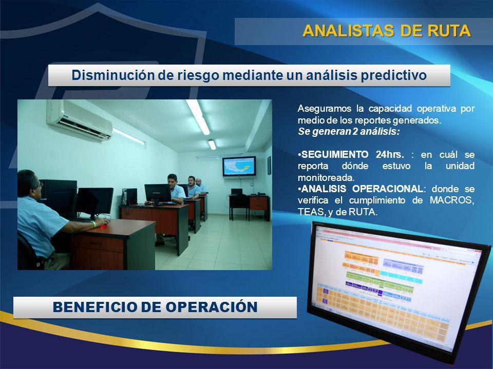 Disminución de riesgo mediante un análisis predictivo Aseguramos la capacidad operativa por medio de los reportes generados. Se generan 2 análisis: SE