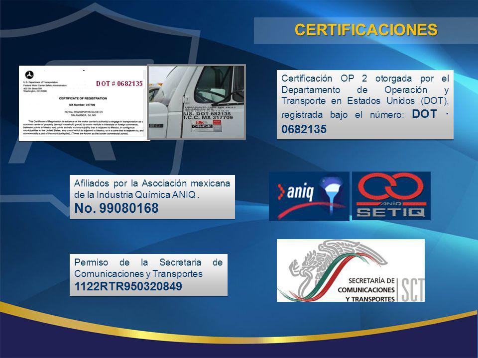 Certificación OP 2 otorgada por el Departamento de Operación y Transporte en Estados Unidos (DOT), registrada bajo el número: DOT · 0682135 Afiliados