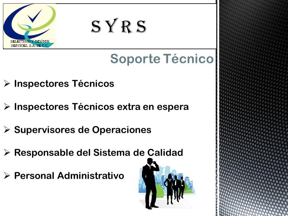 S Y R s SELECTIONS Y REWORK SERVICES, S.A. DE C.V. Soporte Técnico Inspectores Técnicos Inspectores Técnicos extra en espera Supervisores de Operacion