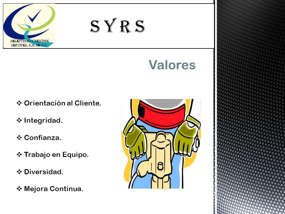 S Y R s SELECTIONS Y REWORK SERVICES, S.A. DE C.V. Valores Orientación al Cliente. Integridad. Confianza. Trabajo en Equipo. Diversidad. Mejora Contin