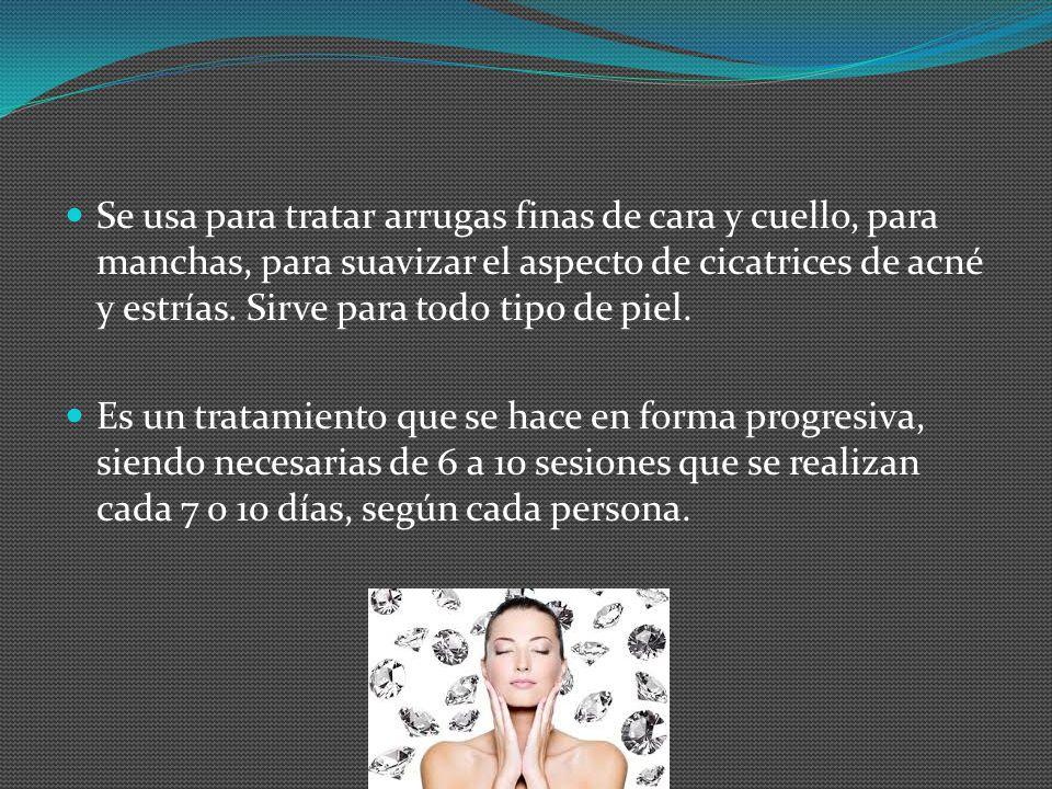 Se usa para tratar arrugas finas de cara y cuello, para manchas, para suavizar el aspecto de cicatrices de acné y estrías. Sirve para todo tipo de pie