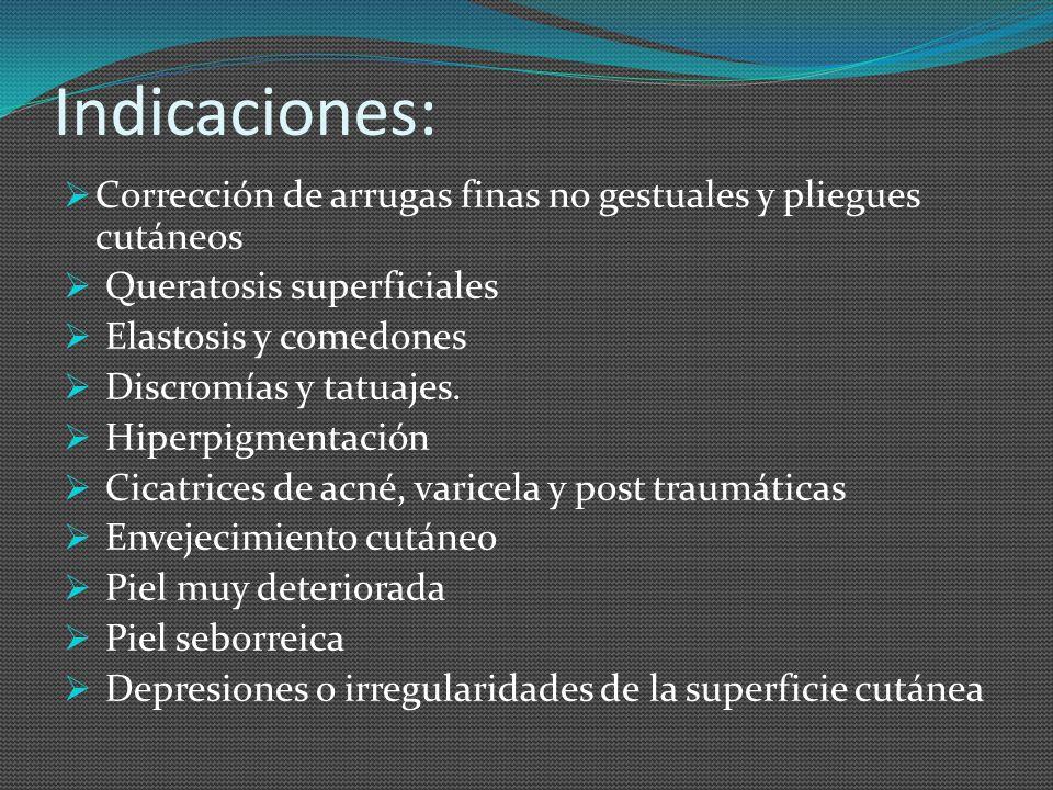 Indicaciones: Corrección de arrugas finas no gestuales y pliegues cutáneos Queratosis superficiales Elastosis y comedones Discromías y tatuajes. Hiper
