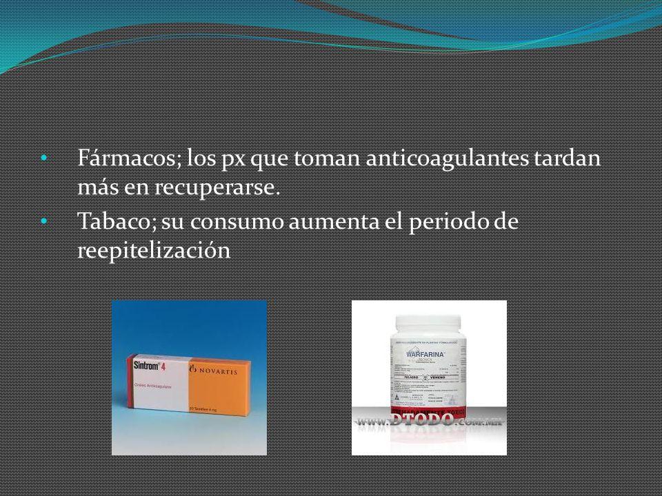 Fármacos; los px que toman anticoagulantes tardan más en recuperarse. Tabaco; su consumo aumenta el periodo de reepitelización