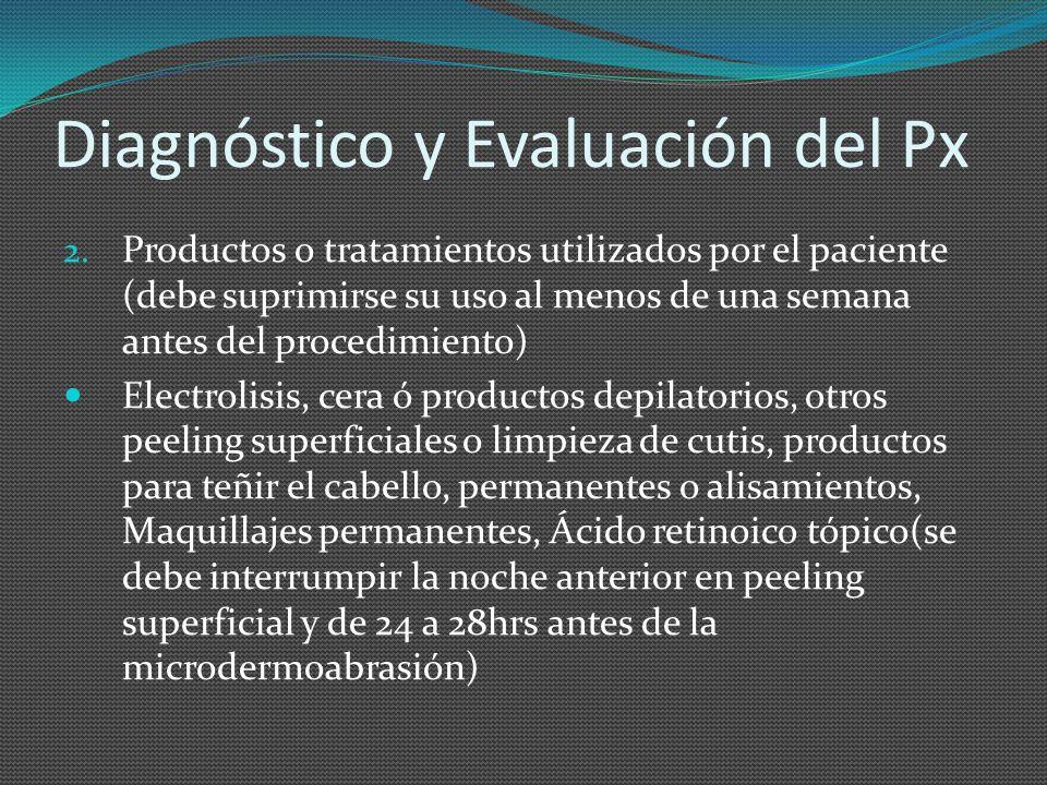 Diagnóstico y Evaluación del Px 2. Productos o tratamientos utilizados por el paciente (debe suprimirse su uso al menos de una semana antes del proced