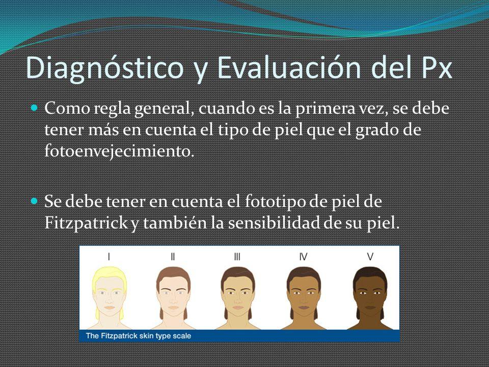 Diagnóstico y Evaluación del Px Como regla general, cuando es la primera vez, se debe tener más en cuenta el tipo de piel que el grado de fotoenvejeci